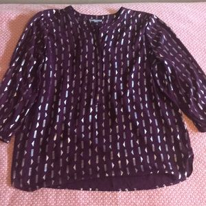 Jm collection xl purple and silver top